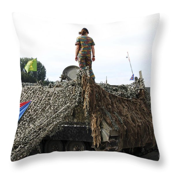 A Unit Of The 2nd Regiment Field Throw Pillow by Luc De Jaeger