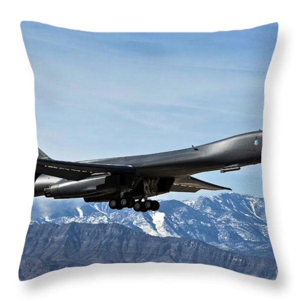 A U.s. Air Force B-1b Lancer Departs Throw Pillow by Stocktrek Images