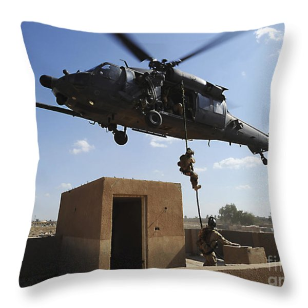 A U.s. Air Force Pararescuemen Fast Throw Pillow by Stocktrek Images