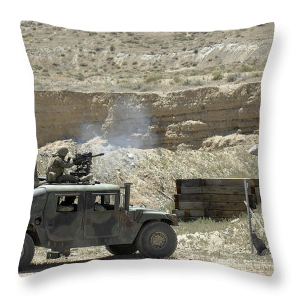 A U.s. Marine Fires A Mark 19-3 40mm Throw Pillow by Stocktrek Images