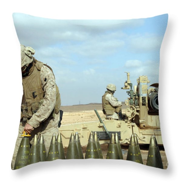 A U.s. Marine Prepares Howitzer Rounds Throw Pillow by Stocktrek Images