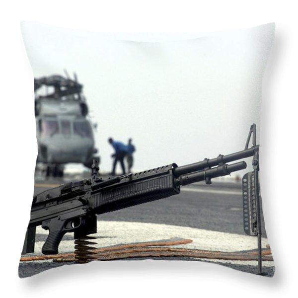 A U.s. Navy Saco 7.62 Mm M60 Machine Throw Pillow by Stocktrek Images