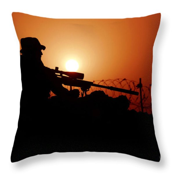 A U.s. Special Forces Soldier Armed Throw Pillow by Stocktrek Images