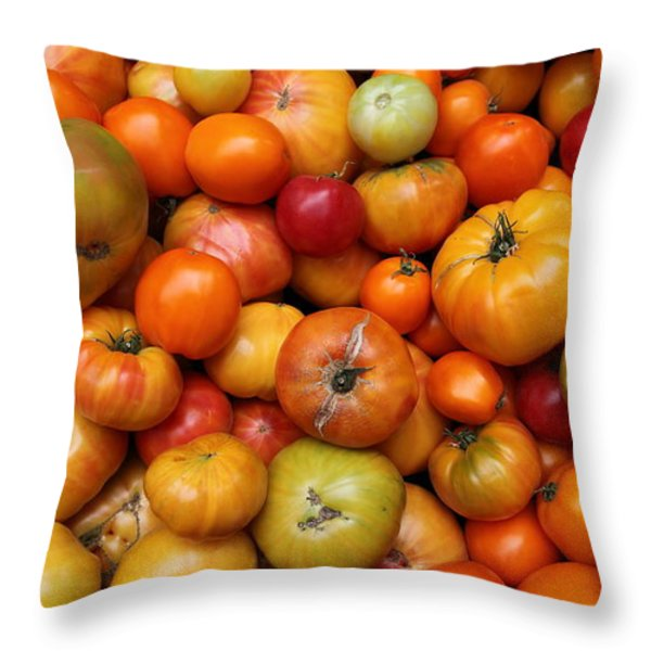 A Variety Of Fresh Tomatoes - 5d17812-long Throw Pillow by Wingsdomain Art and Photography