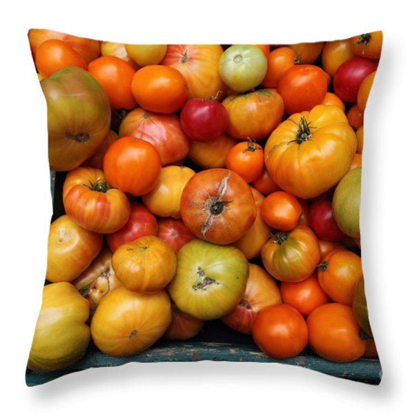 A Variety of Fresh Tomatoes - 5D17812 Throw Pillow by Wingsdomain Art and Photography