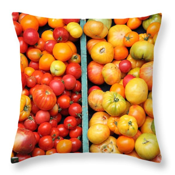 A Variety of Fresh Tomatoes - 5D17904-long Throw Pillow by Wingsdomain Art and Photography