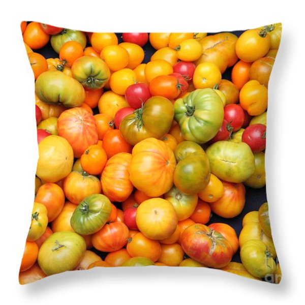 A Variety of Fresh Tomatoes - 5D17904 Throw Pillow by Wingsdomain Art and Photography