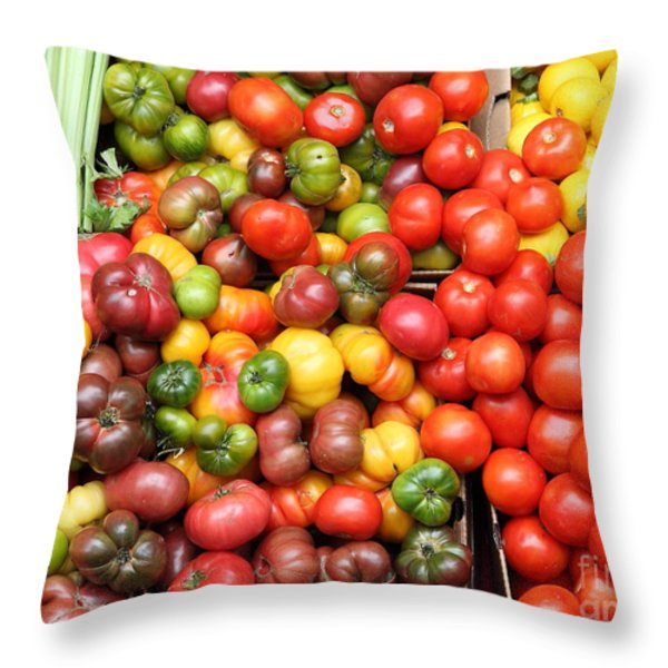 A Variety of Fresh Tomatoes and Celeries - 5D17901 Throw Pillow by Wingsdomain Art and Photography