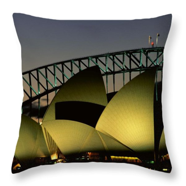 A View At Night Of The Famed Sydney Throw Pillow by Medford Taylor