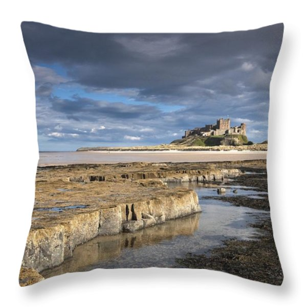 A View Of Bamburgh Castle Bamburgh Throw Pillow by John Short