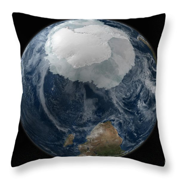 A View Of The Earth With The Full Throw Pillow by Stocktrek Images