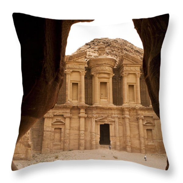A View Of The Monastary In Petra Throw Pillow by Taylor S. Kennedy
