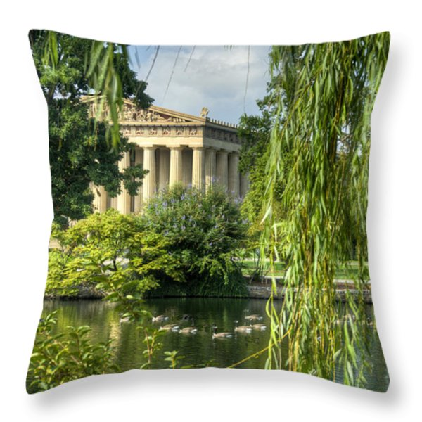A View of the Parthenon 16 Throw Pillow by Douglas Barnett