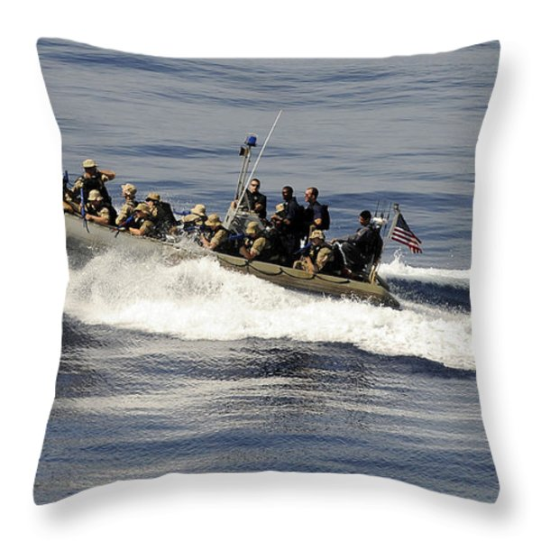 A Visit, Board, Search And Seizure Team Throw Pillow by Stocktrek Images