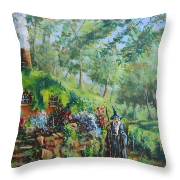 A Visit From Gandalf   Concerning The Ring. Throw Pillow by Joe  Gilronan