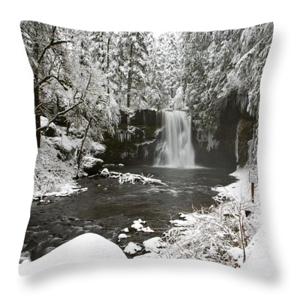 A Waterfall In To A River In Winter Throw Pillow by Craig Tuttle