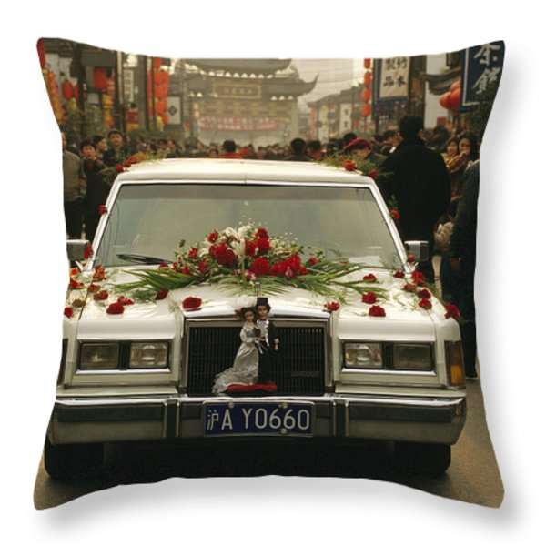 A Wedding Limousine With Flowers Rolls Throw Pillow by Justin Guariglia
