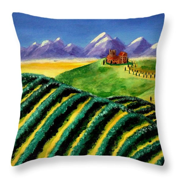 A Winery In Tuscany Throw Pillow by Spencer Hudon II
