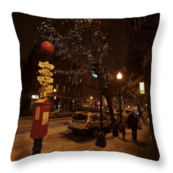 A Winter Evening In Bostons North End Throw Pillow by Tim Laman