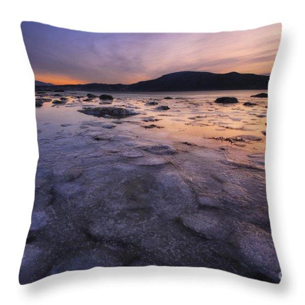 A Winter Sunset At Evenskjer In Troms Throw Pillow by Arild Heitmann