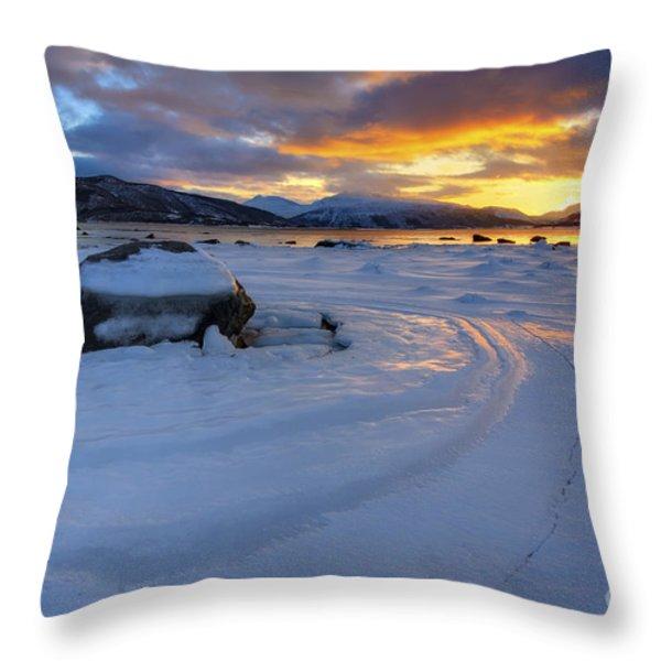 A Winter Sunset Over Tjeldsundet Throw Pillow by Arild Heitmann