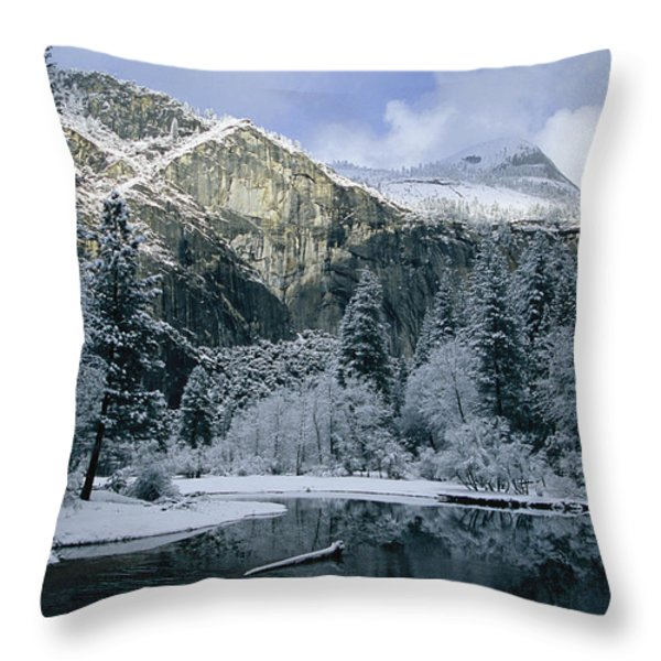 A Winter View Of The Merced River Throw Pillow by Marc Moritsch