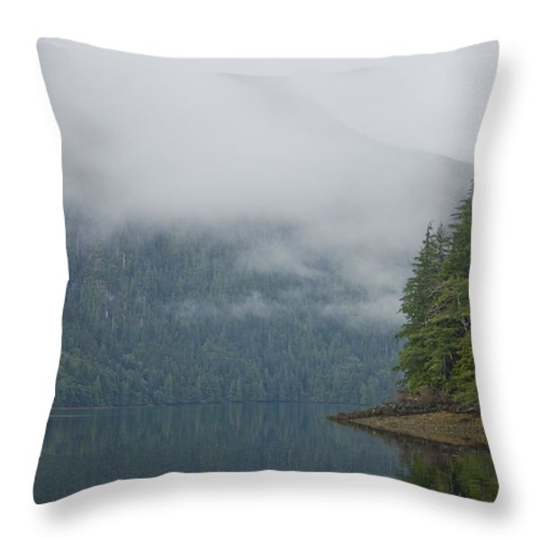 A Woman Kayaks Along A Quiet Inlet Throw Pillow by Taylor S. Kennedy