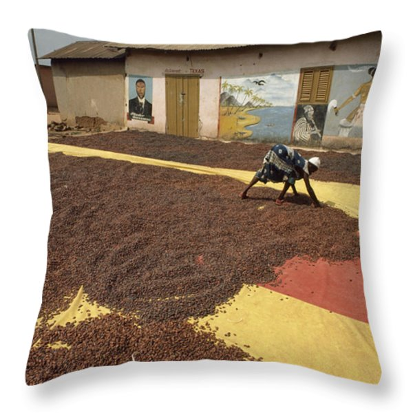 A Woman Spreads Brown Cacao Beans Throw Pillow by James L. Stanfield
