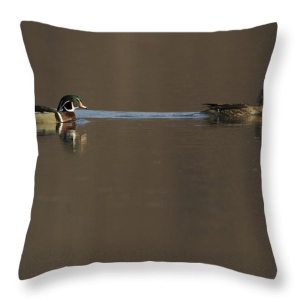 A Wood Duck Aix Sponsa Pair Throw Pillow by Tim Laman
