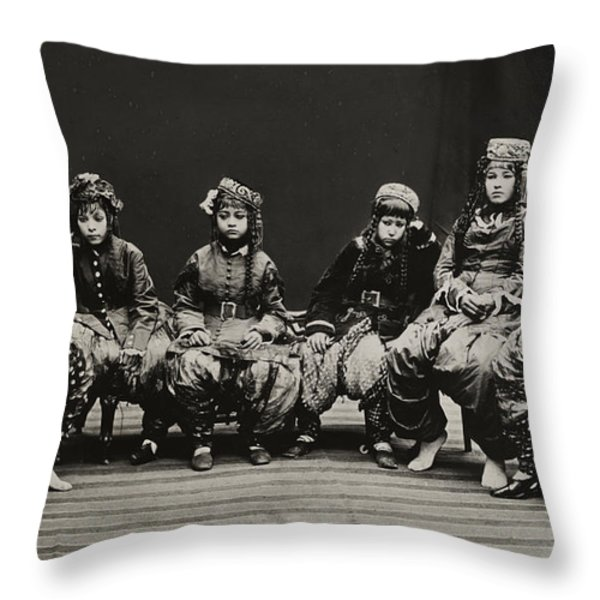 A Young Group Of Well Dressed Nepali Throw Pillow by John-Claude White
