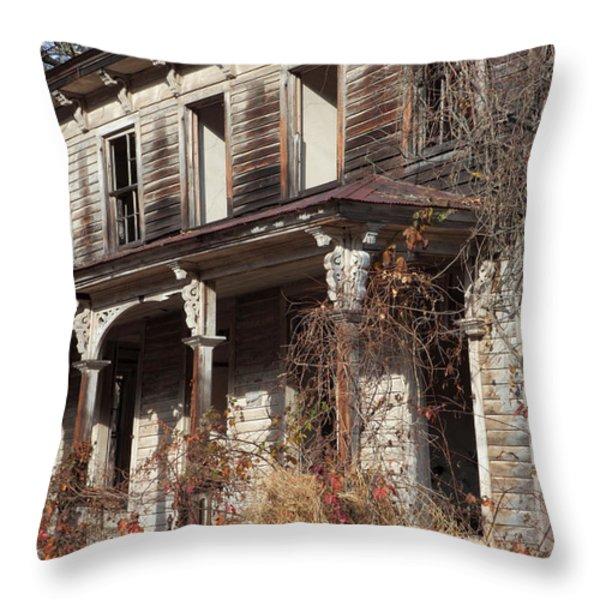 Abandoned Dilapidated Homestead Throw Pillow by John Stephens