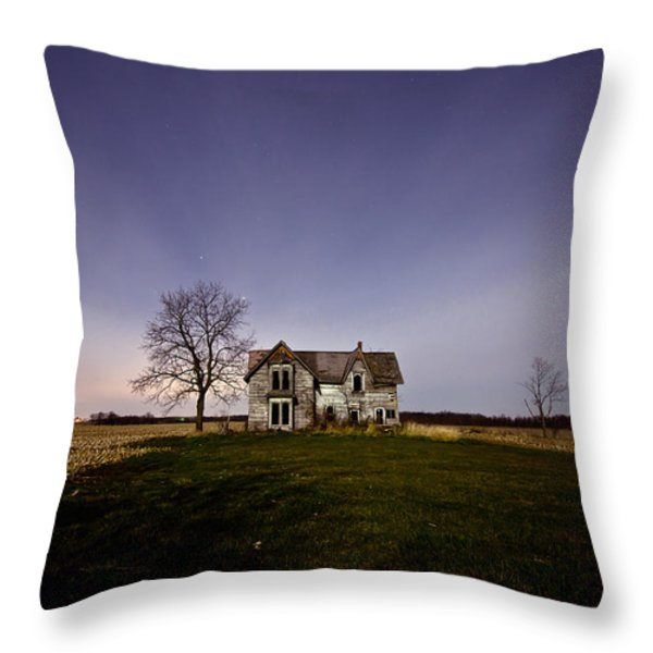 Abandoned Farmhouse at Night Throw Pillow by Cale Best