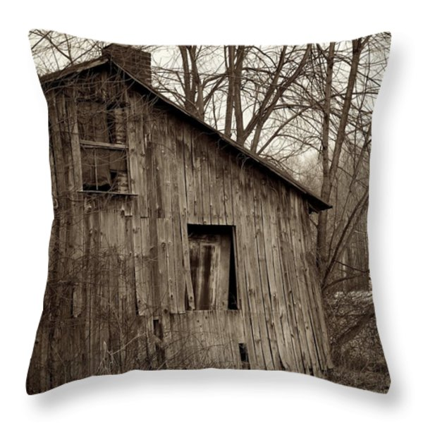 Abandoned Farmstead Facade Throw Pillow by John Stephens