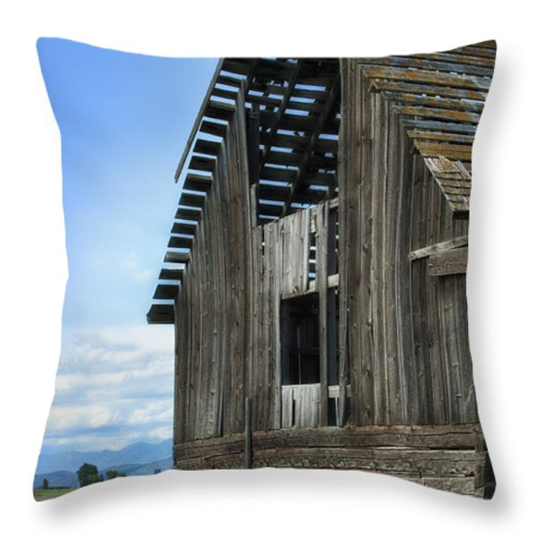 Abandoned Montana Barn Throw Pillow by Sandra Bronstein