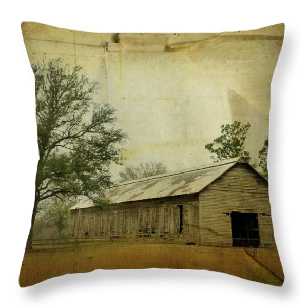 Abandoned Tobacco Barn Throw Pillow by Carla Parris