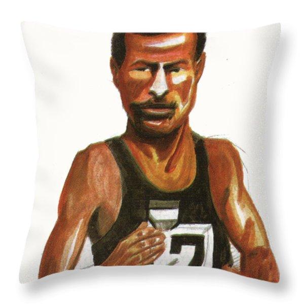 Abebe Bikila Throw Pillow by Emmanuel Baliyanga