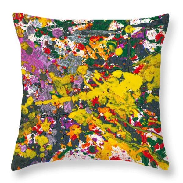 Abstract - Crayon - One Evening At The Diner Throw Pillow by Mike Savad
