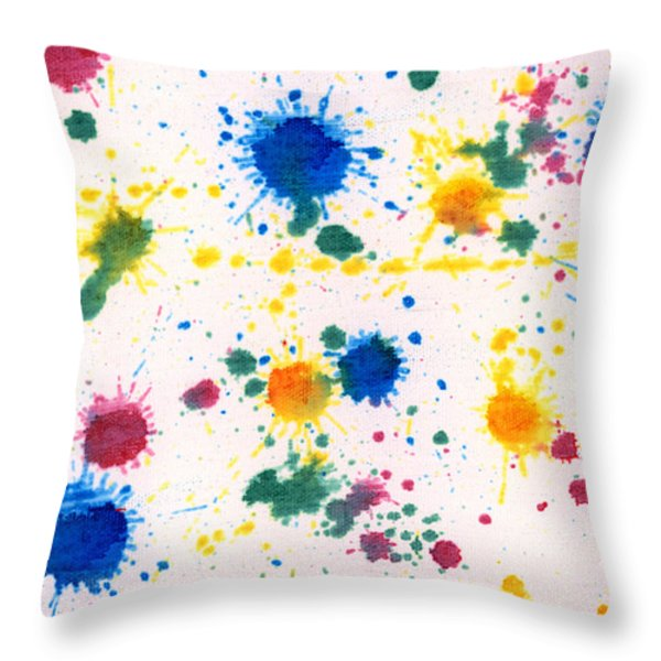 Abstract - Gesso And Food Color - My New Carpet Throw Pillow by Mike Savad