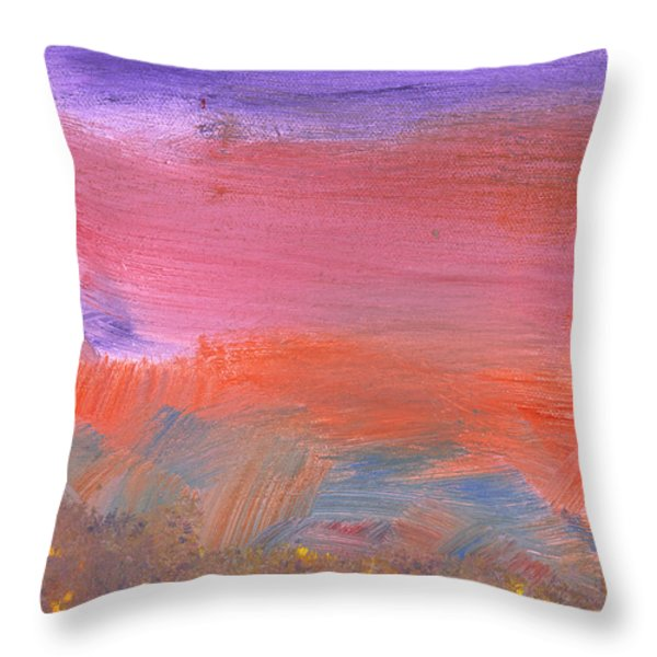 Abstract - Guash - Lovely Meadows 2 Of 2 Throw Pillow by Mike Savad