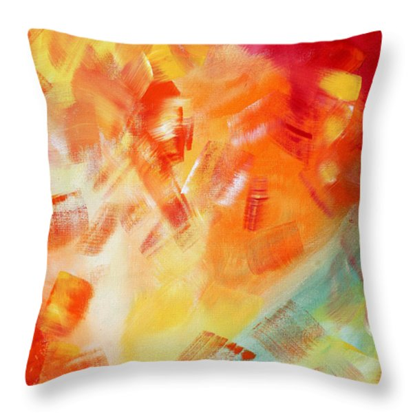 Abstract Art Colorful Bright Pastels Original Painting Spring Is Here I By Madart Throw Pillow by Megan Duncanson