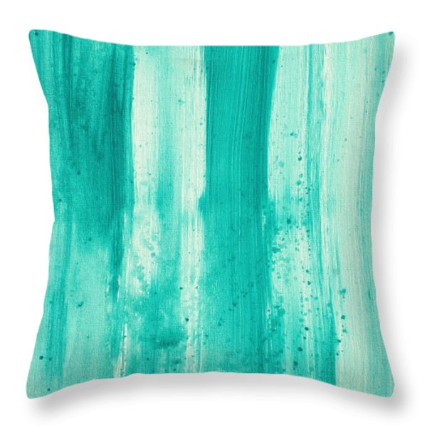 Abstract Art Original Decorative Painting Aqua Passion By Madart Throw Pillow by Megan Duncanson