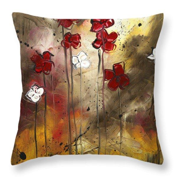 Abstract Art Original Flower Painting Floral Arrangement By Madart Throw Pillow by Megan Duncanson