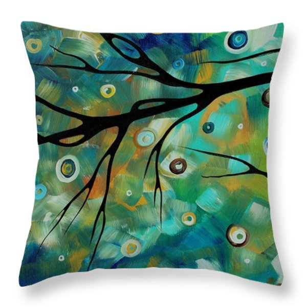 Abstract Art Original Landscape Painting Colorful Circles Morning Blues II By Madart Throw Pillow by Megan Duncanson