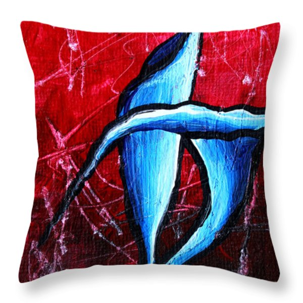 Abstract Calla Lilly Textured Painting GREETING LILLIES by MADART Throw Pillow by Megan Duncanson