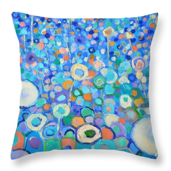 Abstract Flowers Field Throw Pillow by Ana Maria Edulescu