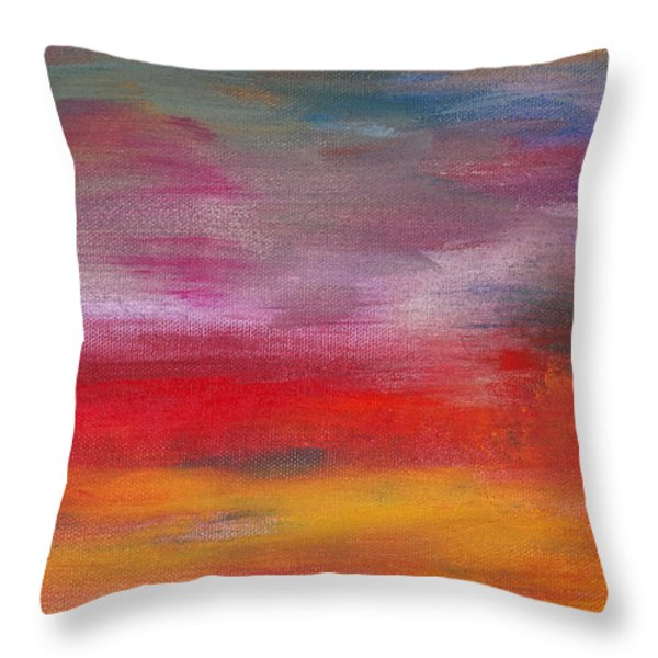 Abstract - Guash and Acrylic - Pleasant Dreams Throw Pillow by Mike Savad