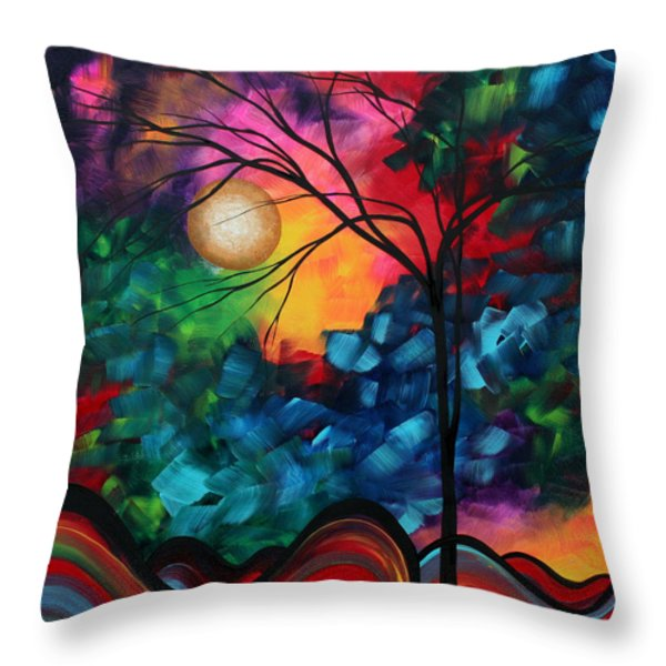 Abstract Landscape Bold Colorful Painting Throw Pillow by Megan Duncanson