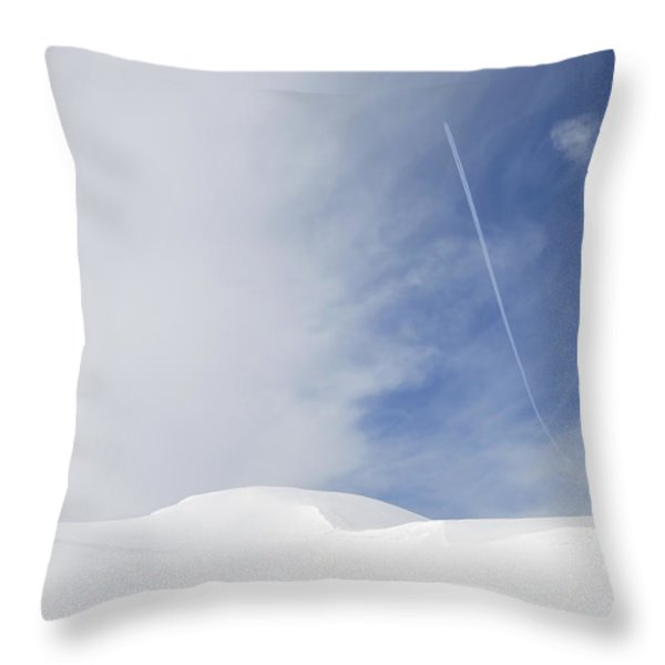 Abstract minimalist winter landscape - snow and blue sky Throw Pillow by Matthias Hauser