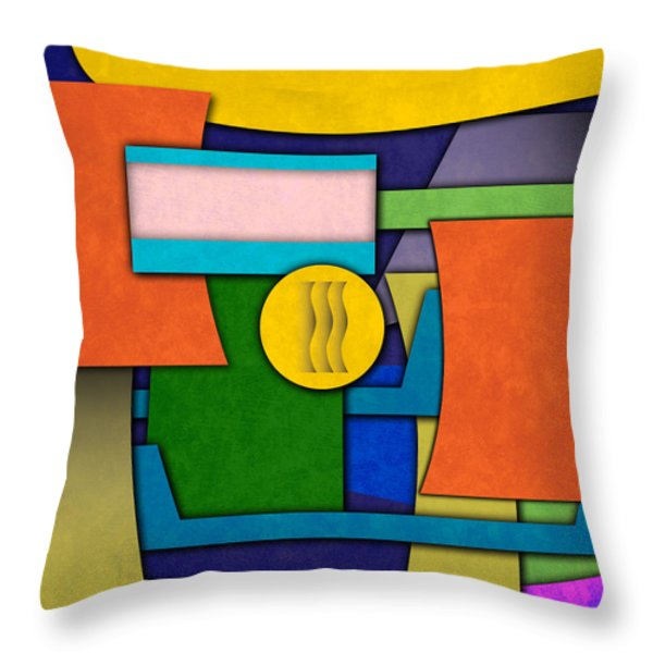 Abstract Shapes Color One Throw Pillow by Gary Grayson