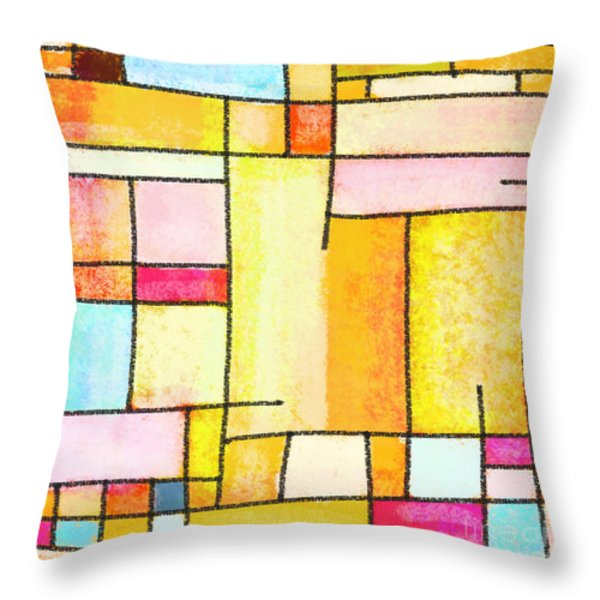 Abstract Town Throw Pillow by Setsiri Silapasuwanchai